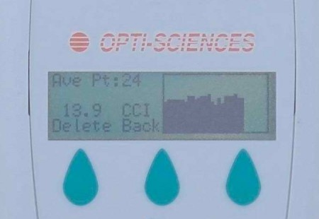 CCM200+ chlorophyll content meter screen.